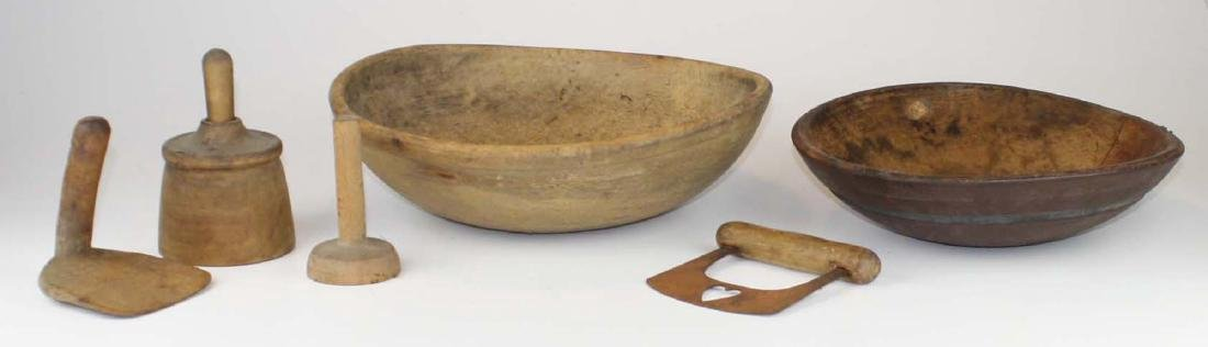 early 19th c woodenware bowls, butter molds - 6