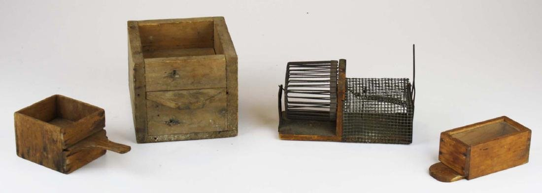 early 20th c mouse trap, bee boxes
