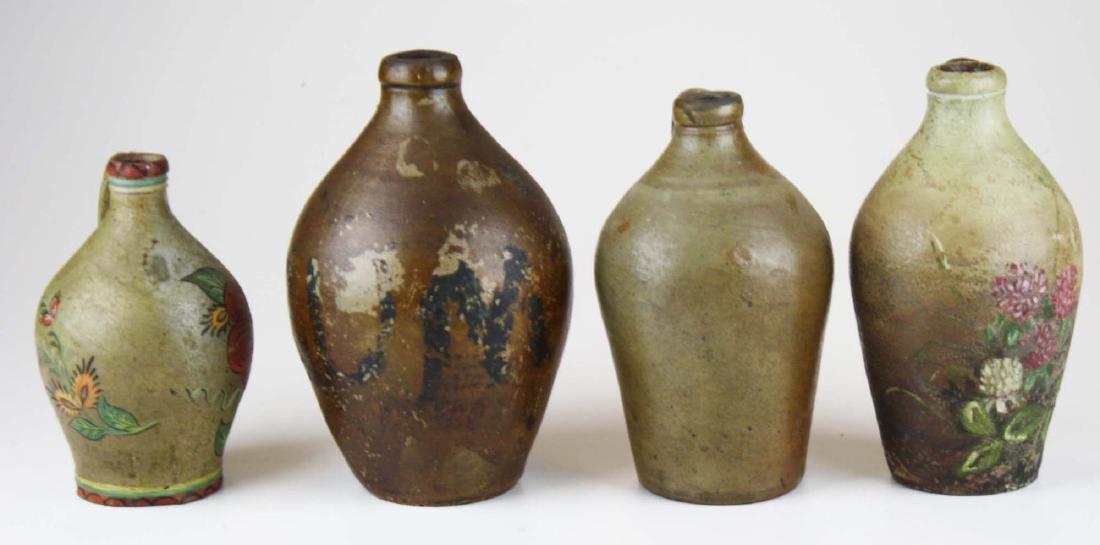 4 small early ovoid stoneware jugs - 3