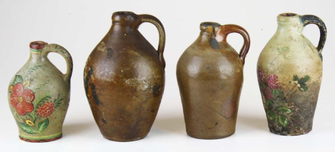4 small early ovoid stoneware jugs - 5
