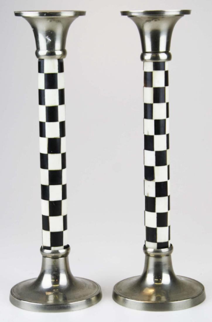 Pr of inlaid bone and horn candlesticks