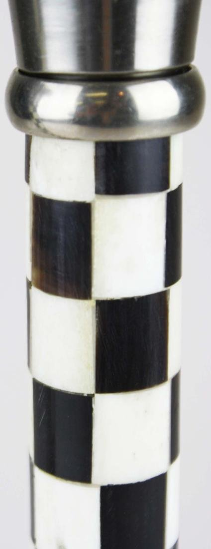 Pr of inlaid bone and horn candlesticks - 3