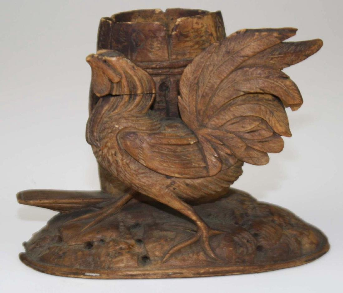 late 19th c carved rooster match holder