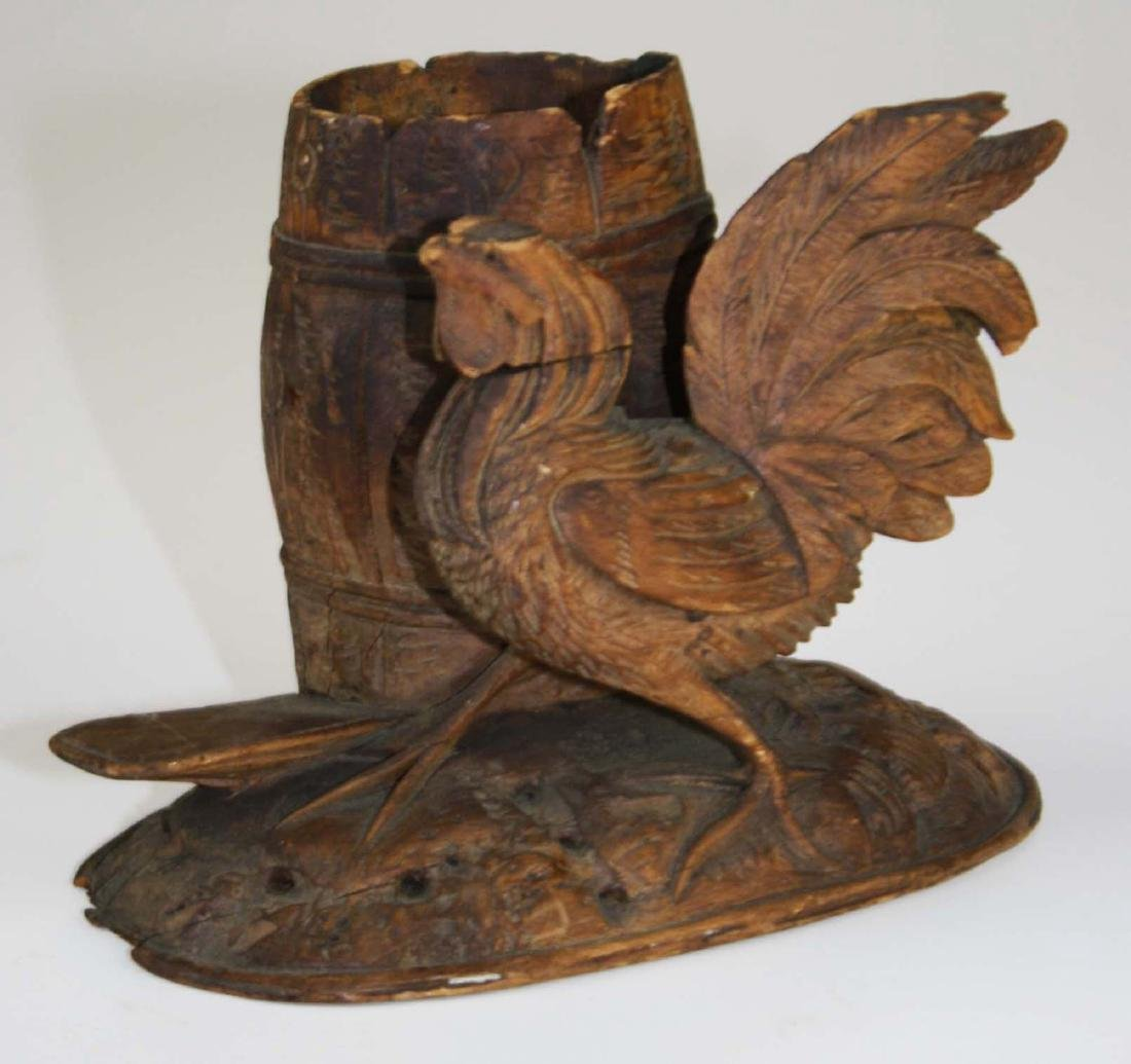 late 19th c carved rooster match holder - 2