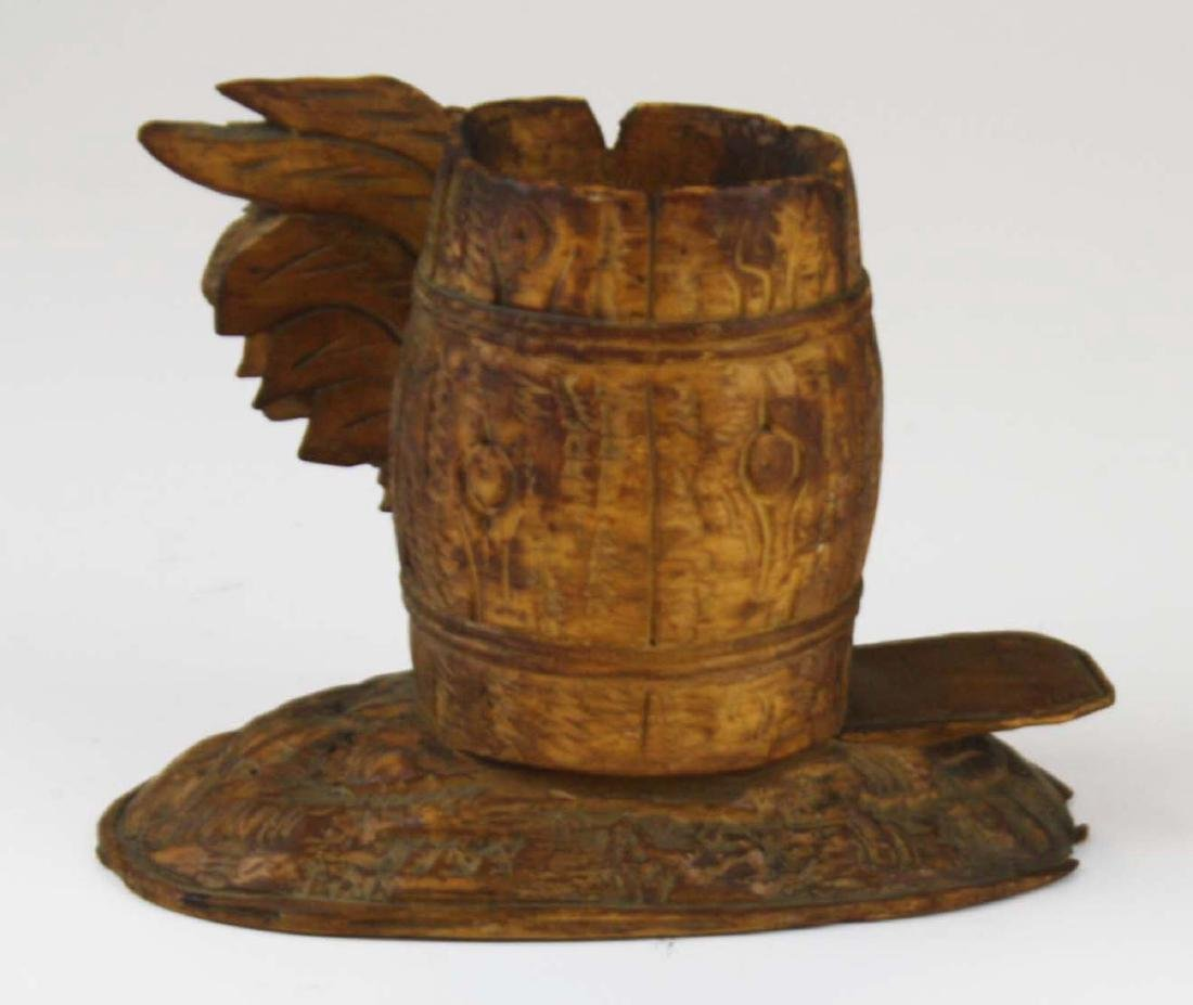 late 19th c carved rooster match holder - 4
