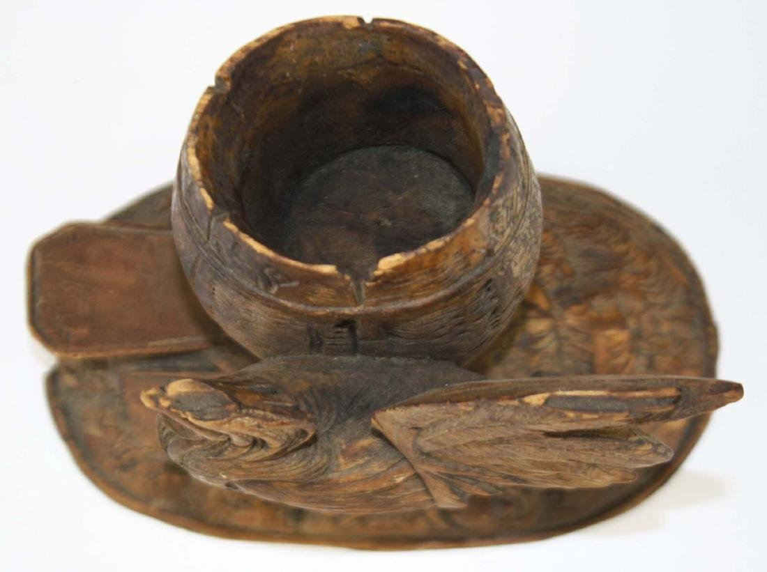 late 19th c carved rooster match holder - 5