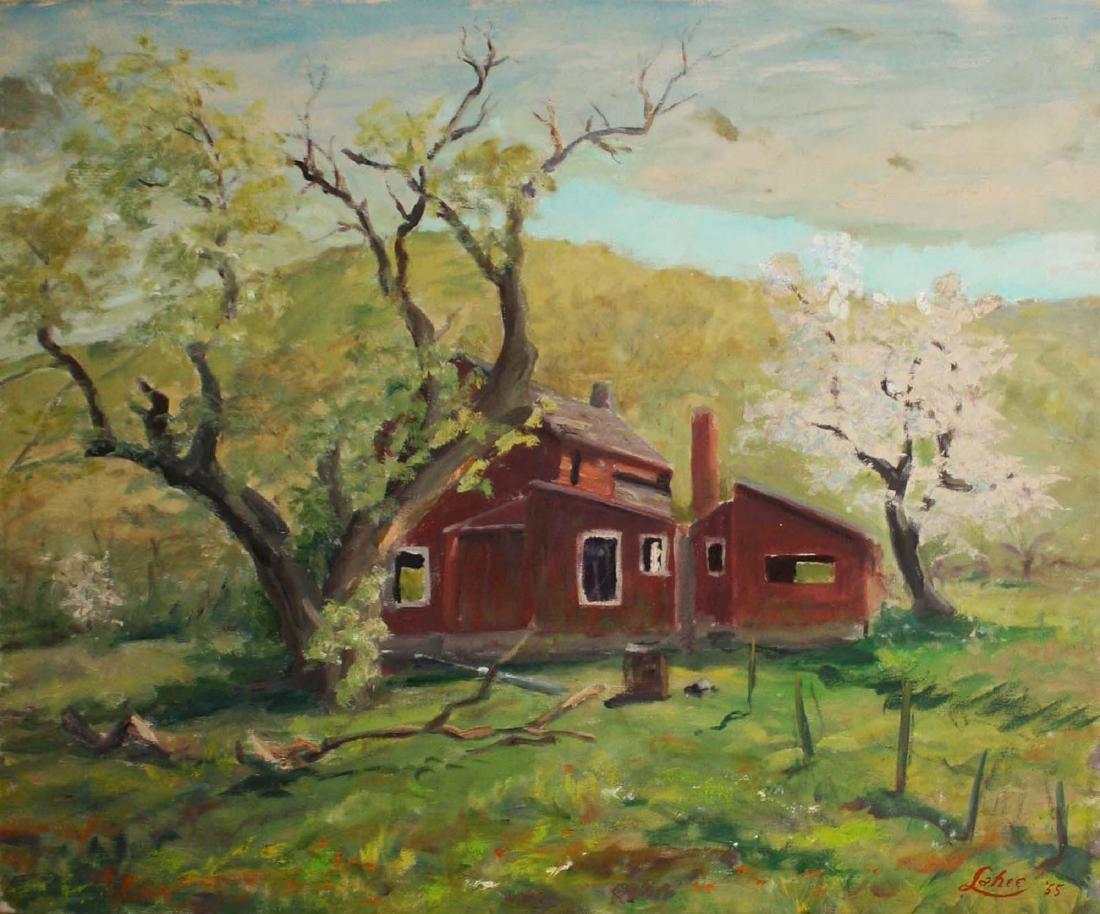 Arnold W Lahee (VT 1888-1976) Barn in Spring