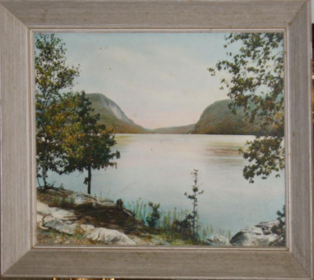 Sawyer hand colored photo of Lake Willoughby