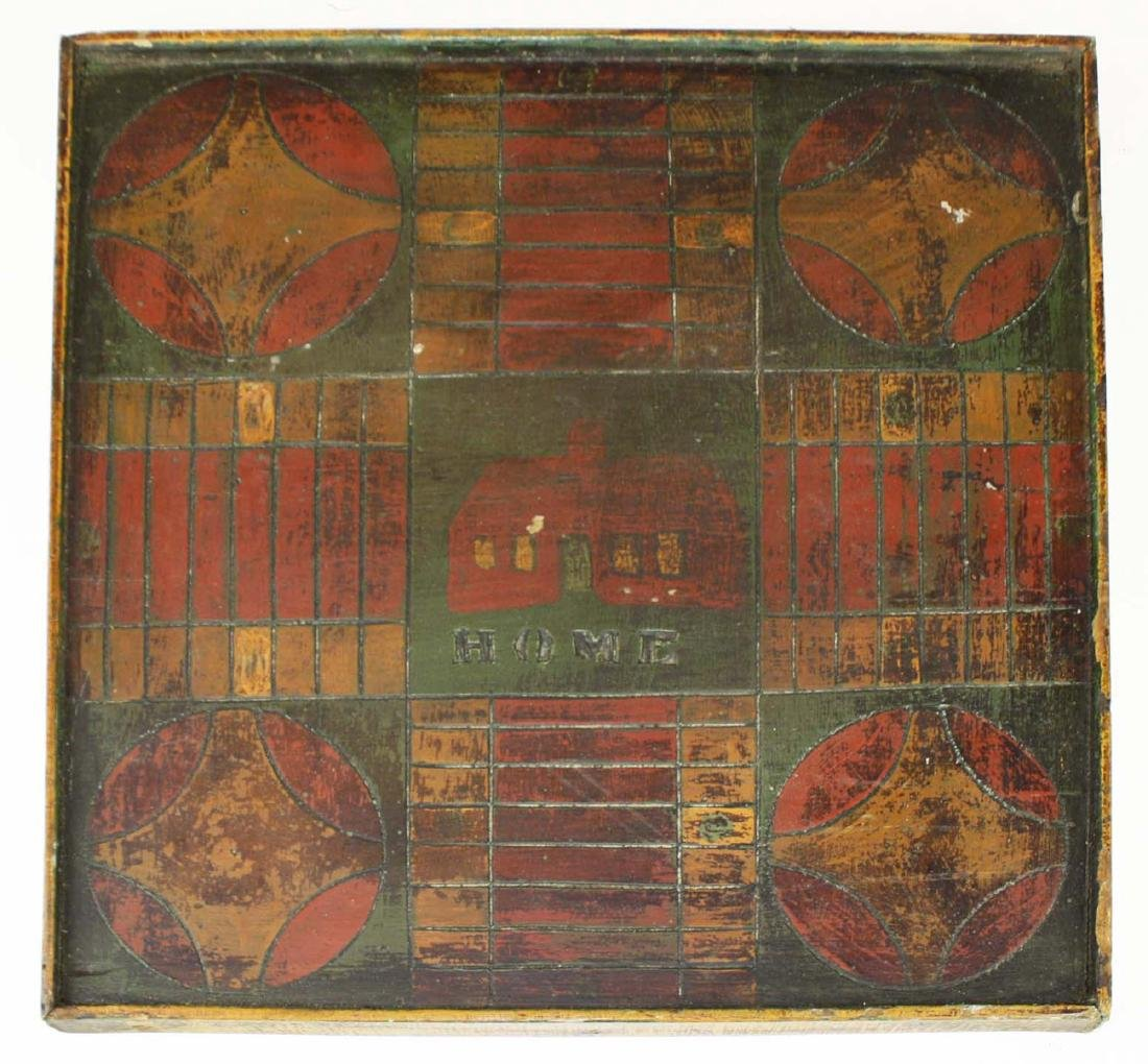 early 20th c carved & painted game board