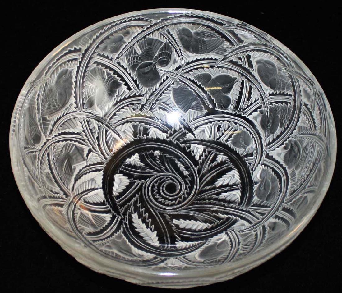 Lalique Pinsons Art Deco crystal bowl