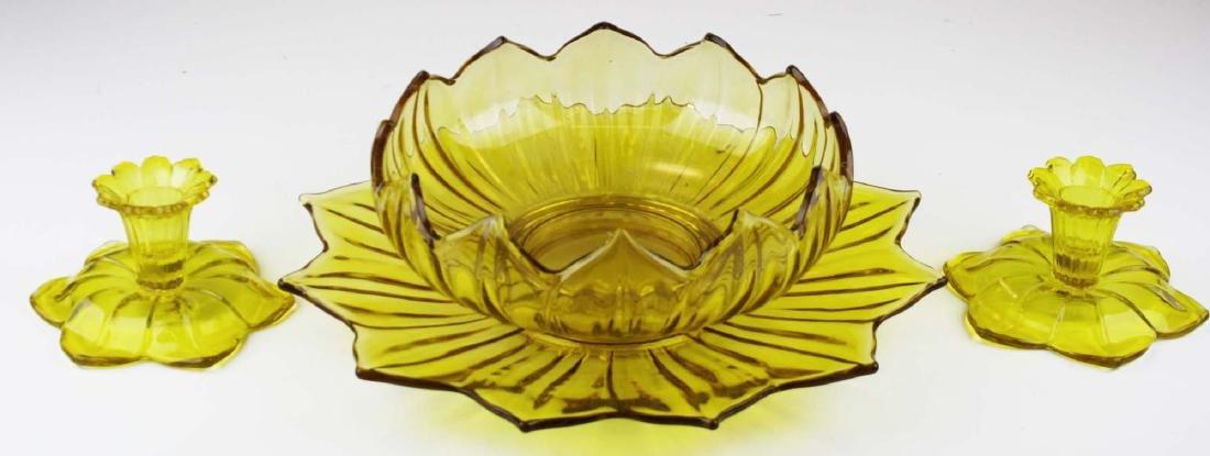 Westmoreland yellow lotus centerpiece set