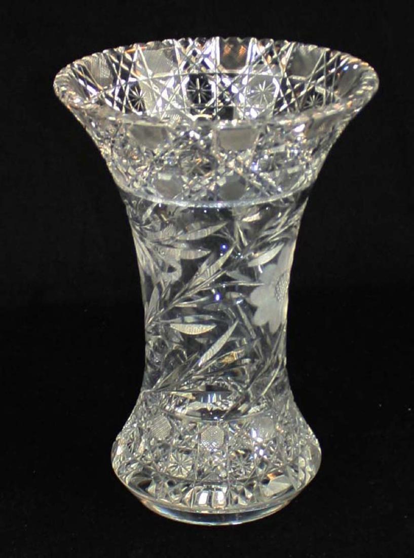 Monumental brilliant cut glass bouquet vase
