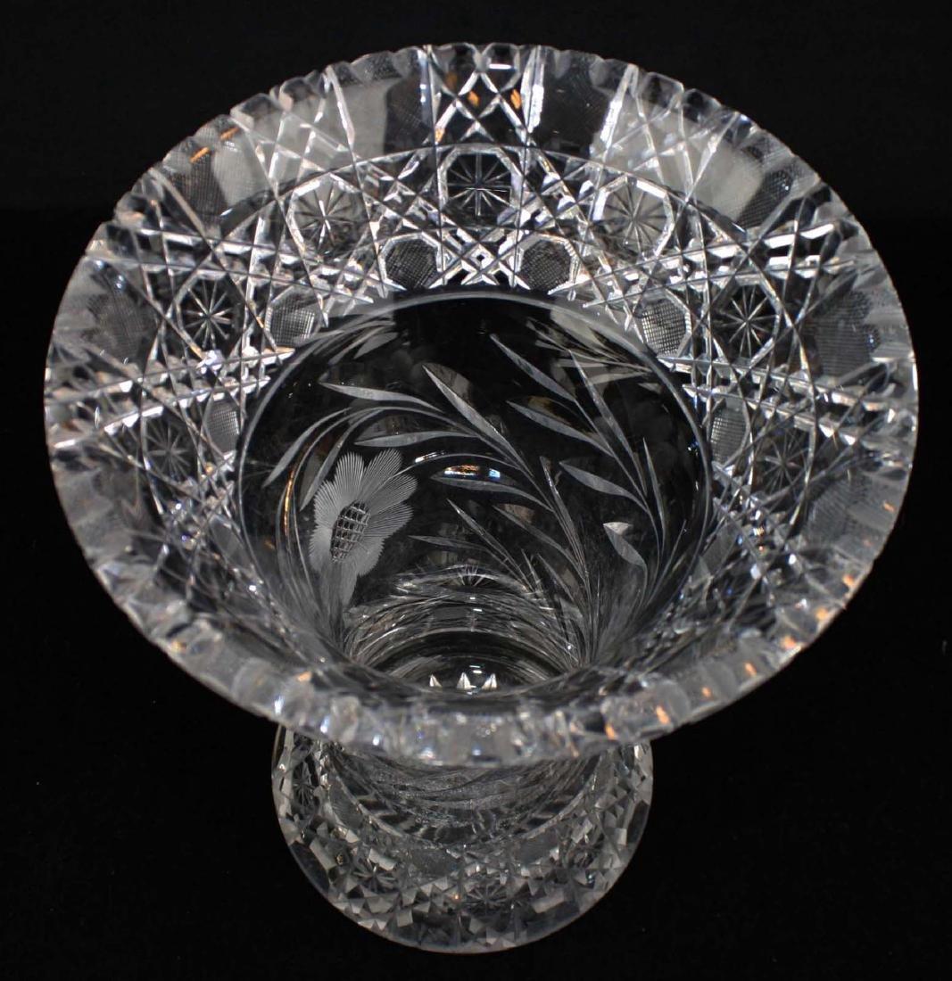 Monumental brilliant cut glass bouquet vase - 2