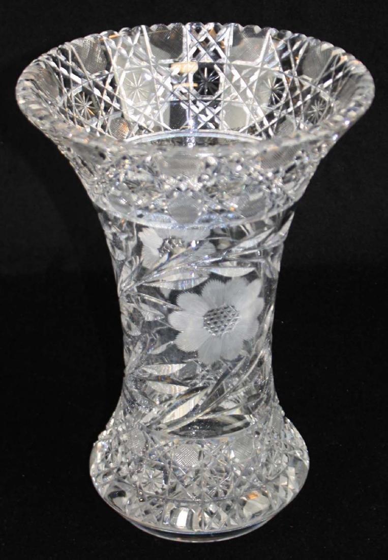 Monumental brilliant cut glass bouquet vase - 3