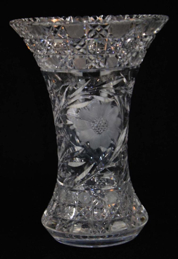 Monumental brilliant cut glass bouquet vase - 8
