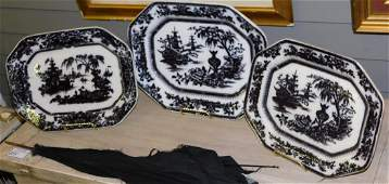 3 Mulberry transfer ironstone platters