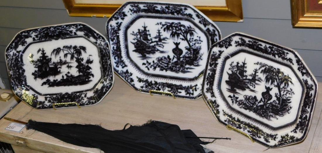 3 Mulberry transfer ironstone platters