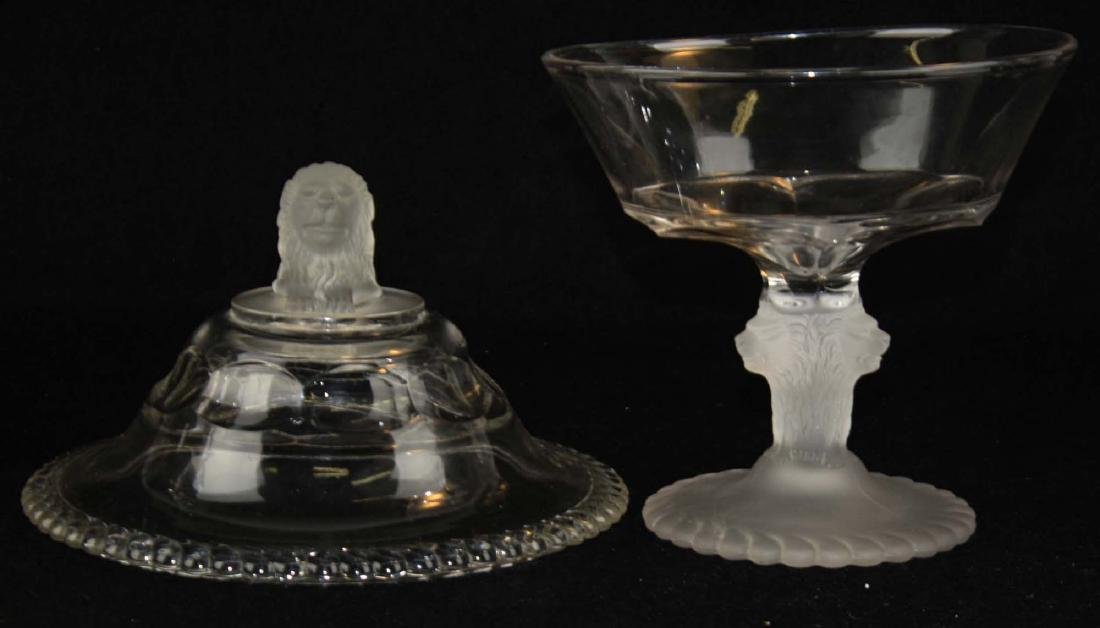 EAPG Gillinder and Sons frosted lion compote - 4