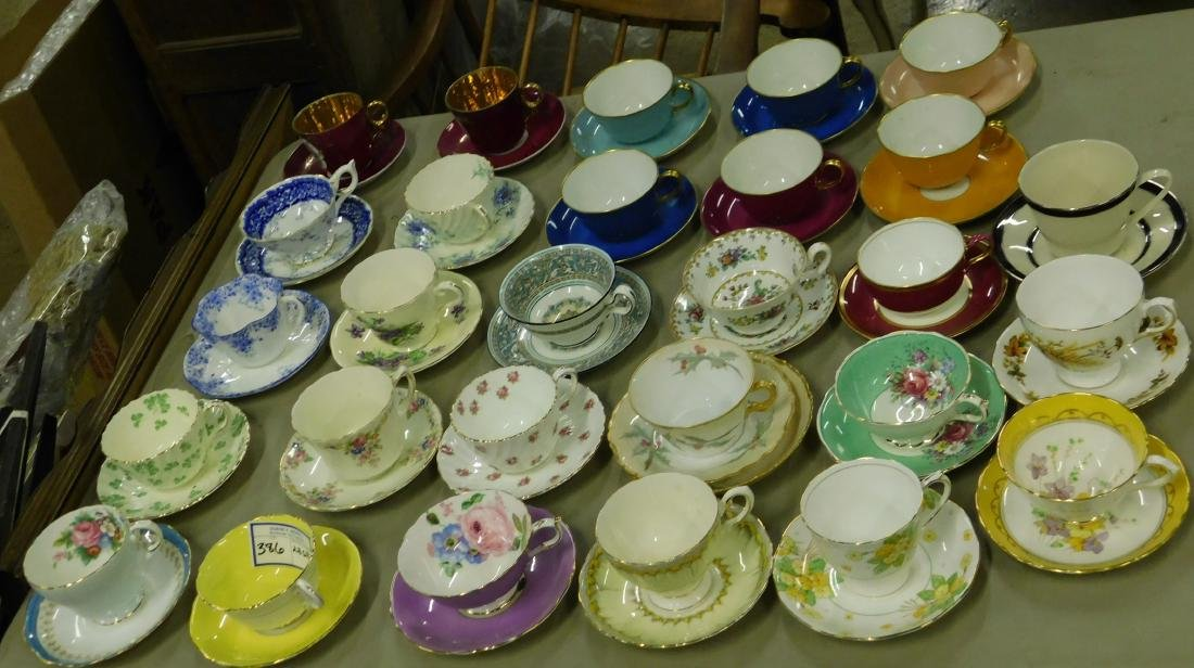 Collection of bone china cups and saucers