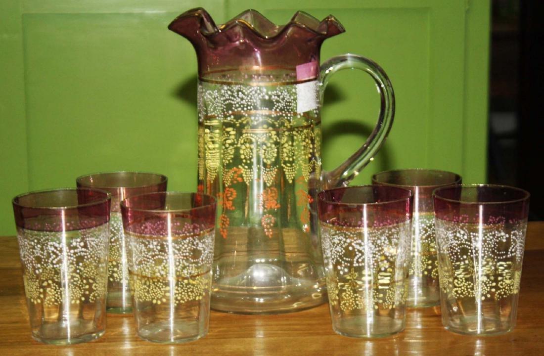 Victorian enameled lustre lemonade set