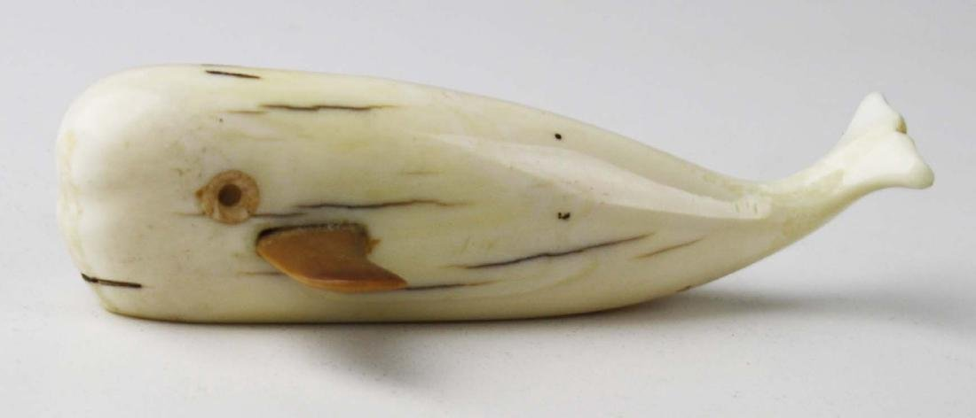 20th c Dwight Milligrock Sr carved whale - 3