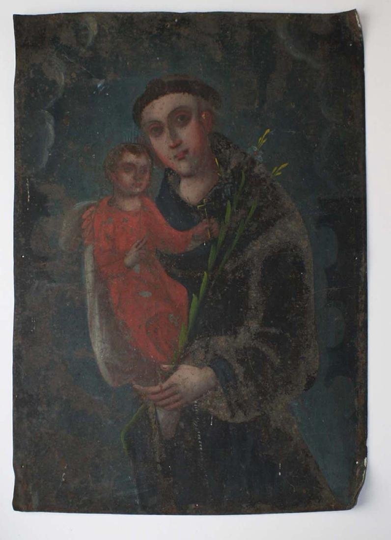 19th c retablo of St Francis w/ the Christ child