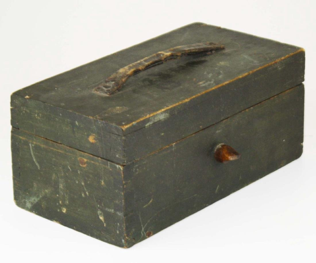 mid 19th c green painted dovetailed box