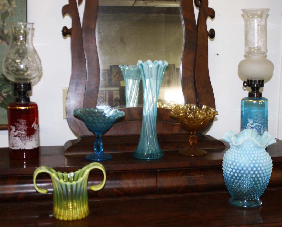 7 pcs colored art glass including hobnail