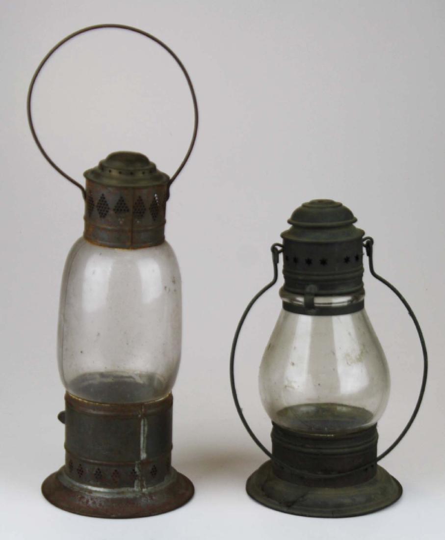 2 early 19th c tin & glass lanterns