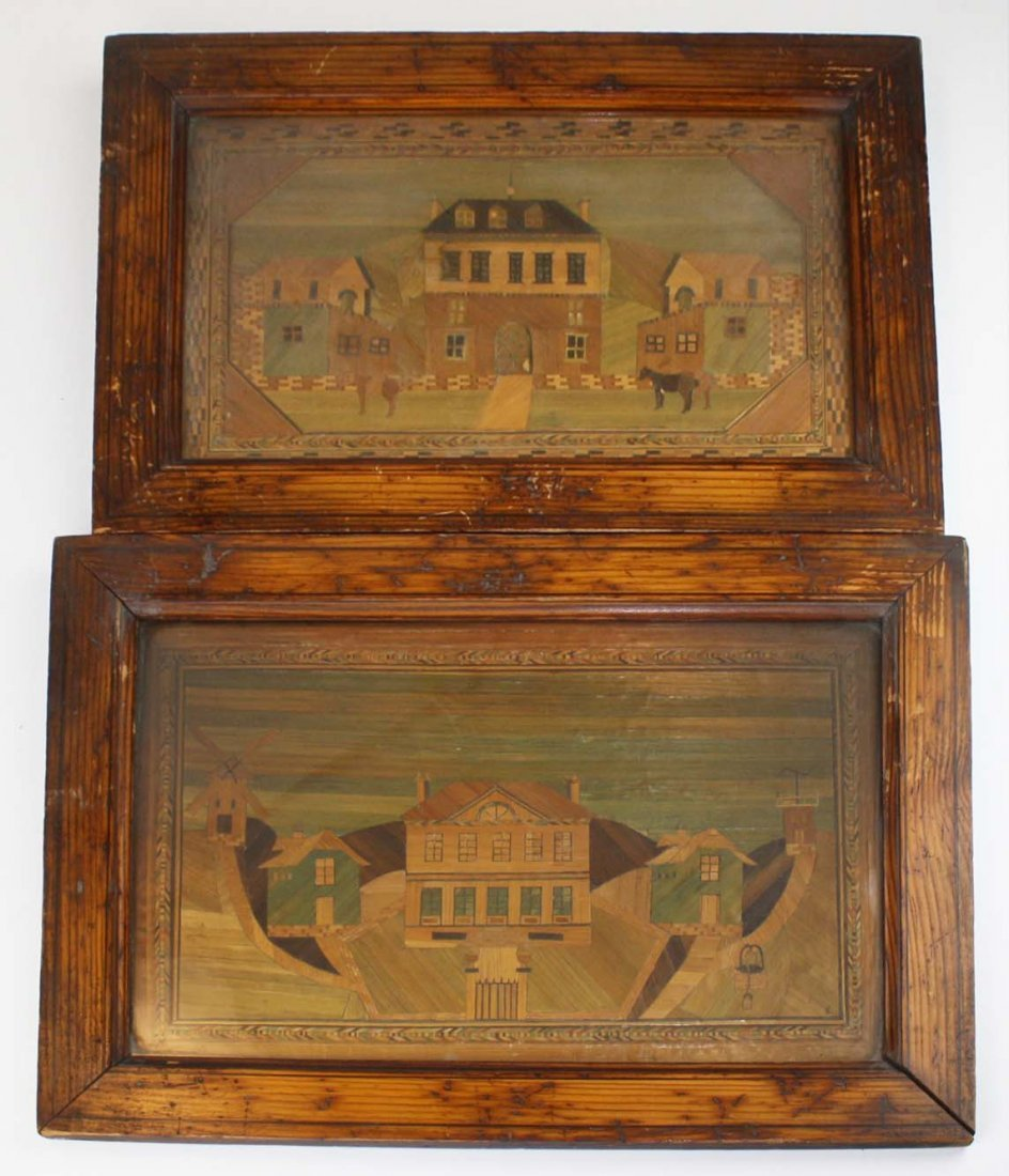 2 19th c micro-mosaic inlay pictures