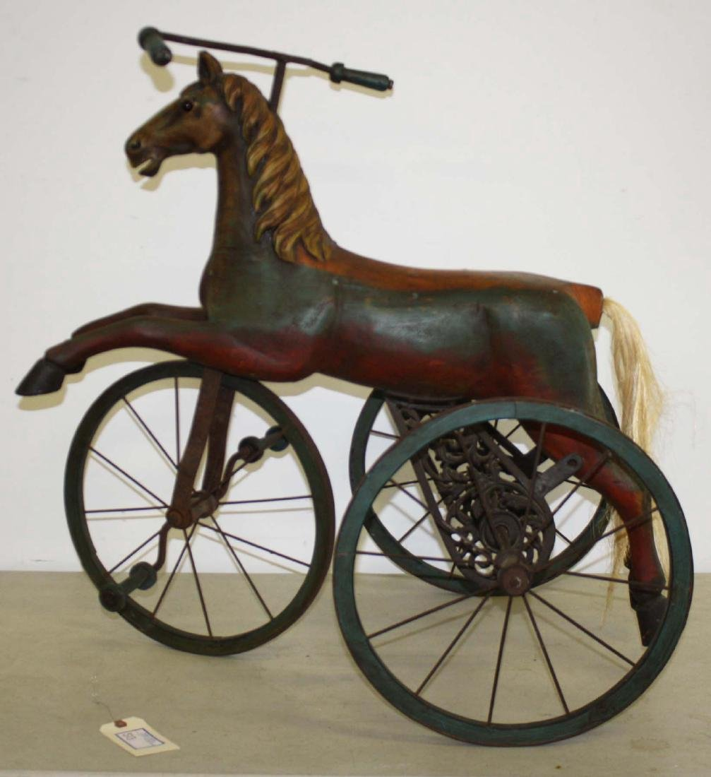 late 20th c folk art velocipede tricycle
