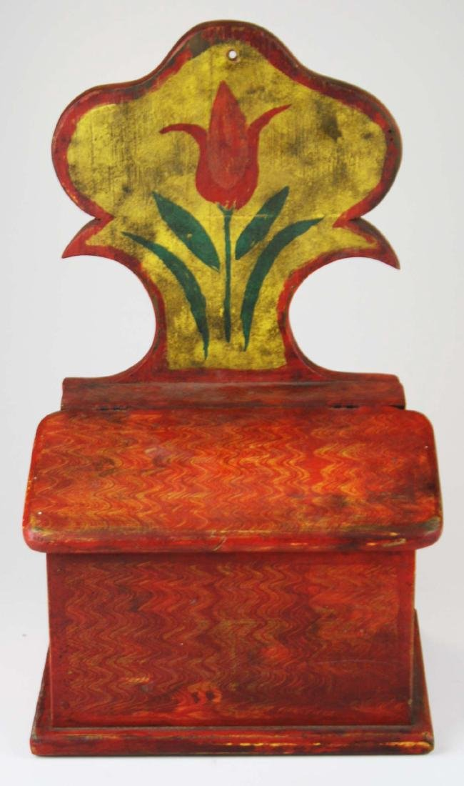 early 20th c painted salt box