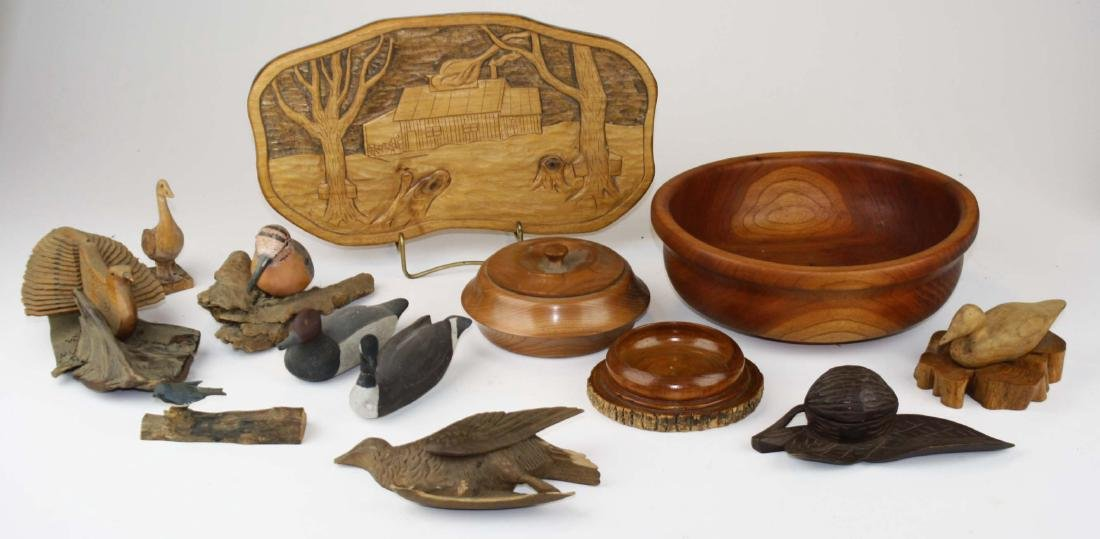20th c Vermont folk carvings, turned wood