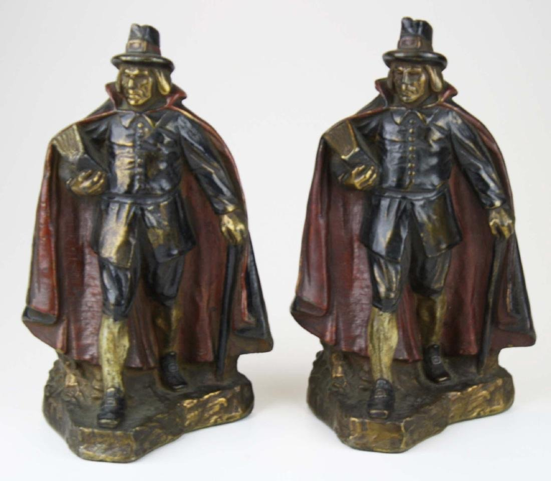 early 20th c J Ruhl pilgrim bookends - 2