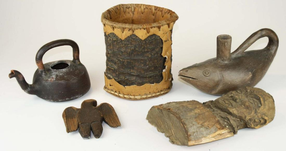 Meso American pottery, carvings, bark box