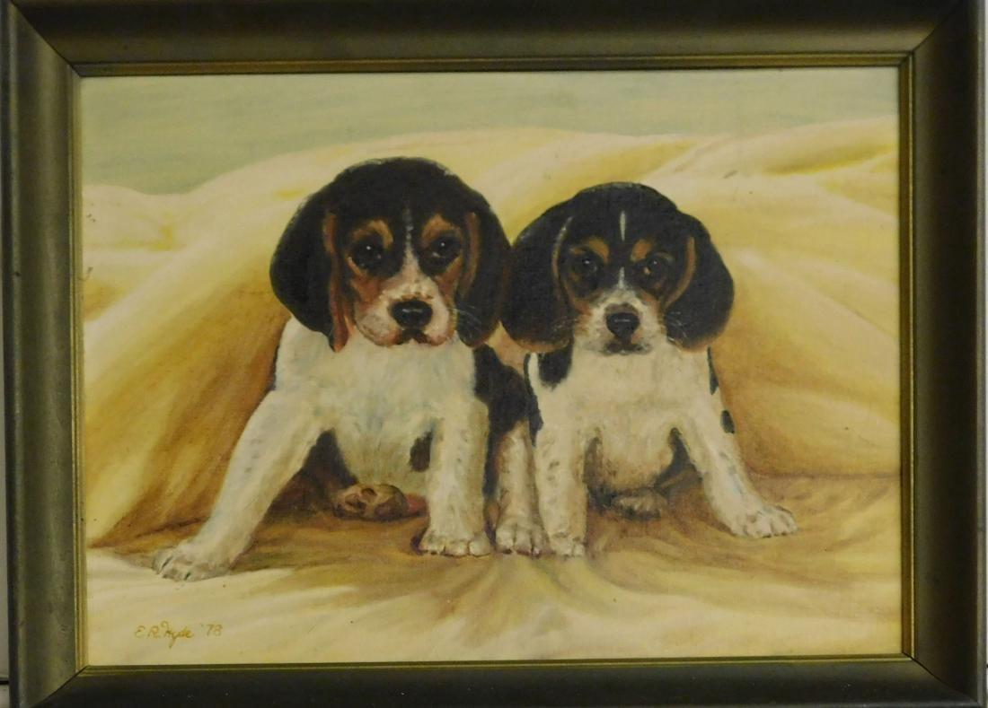 Dr. Edgar R Hyde (VT 20th c)  Two beagles