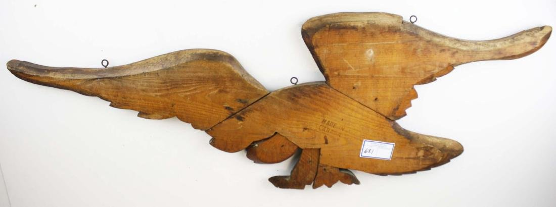 mid 20th c carved eagle plaque - 3