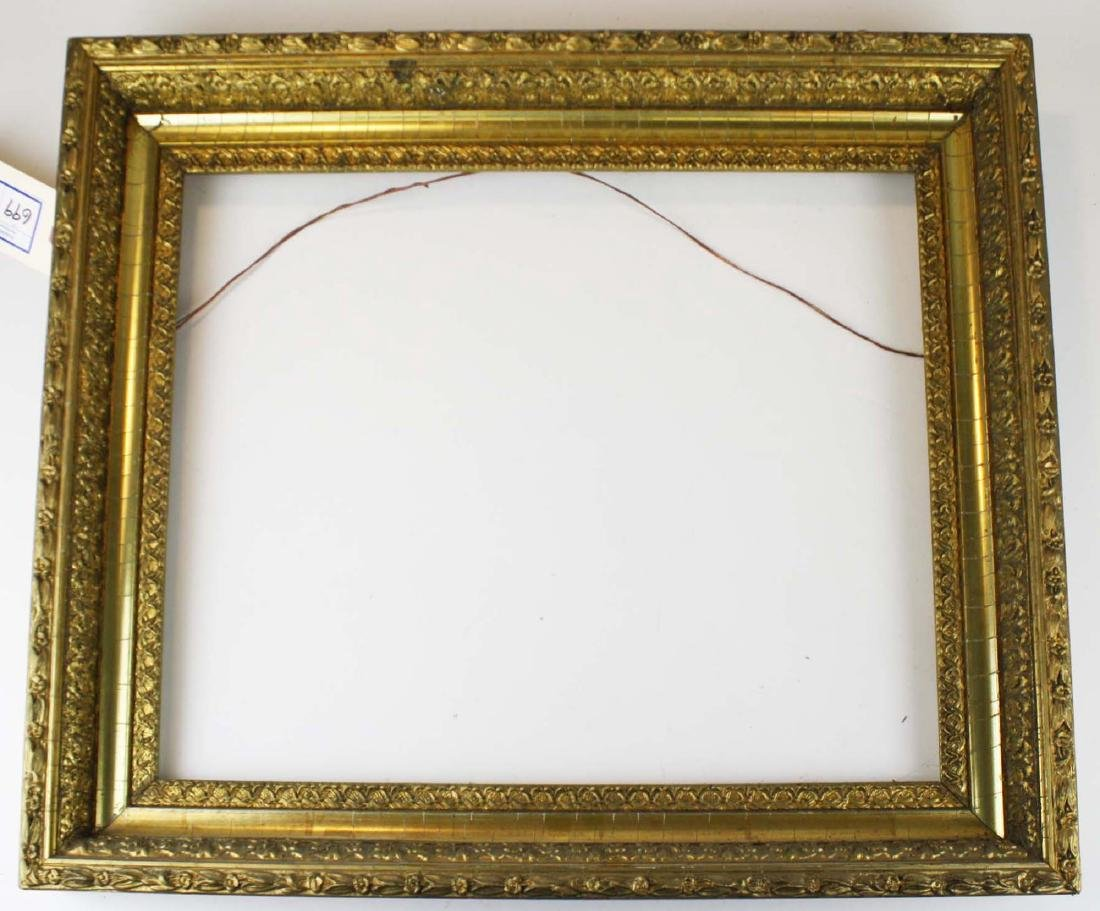 "late 19th c gilt & gesso frame fits 16"" x 20"""