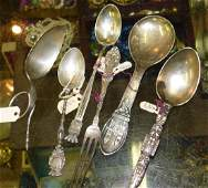 6 pcs of sterling and coin silver flatware