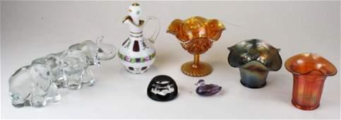 8 pcs various art glass including Baccarat
