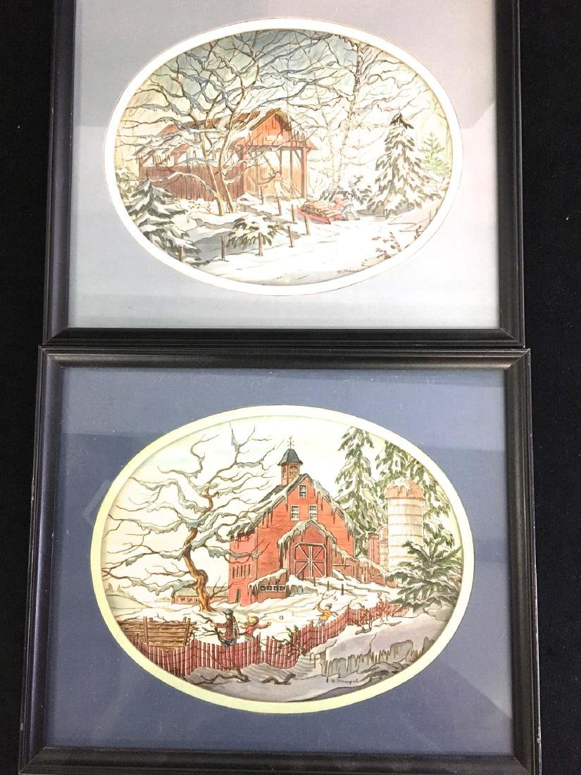 Pair of watercolors by by E Hamfel