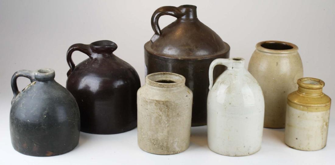 early 20th c stoneware crocks & jugs