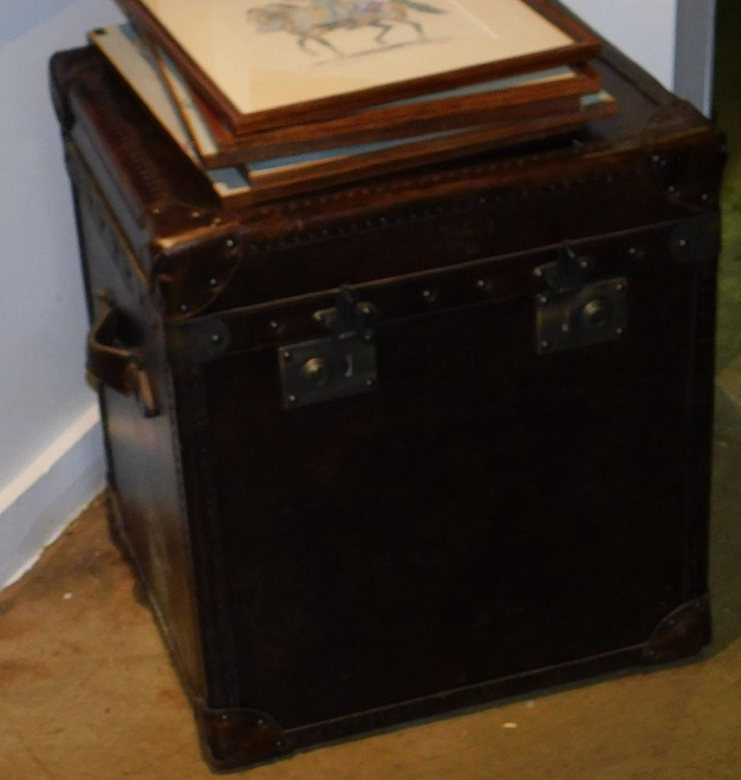 20th c leather half trunk