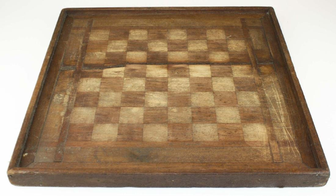 early 20th c parquetry game board as found