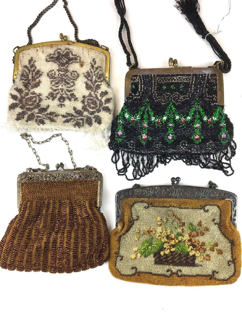 Group of 4 antique bead decorated hand bags.