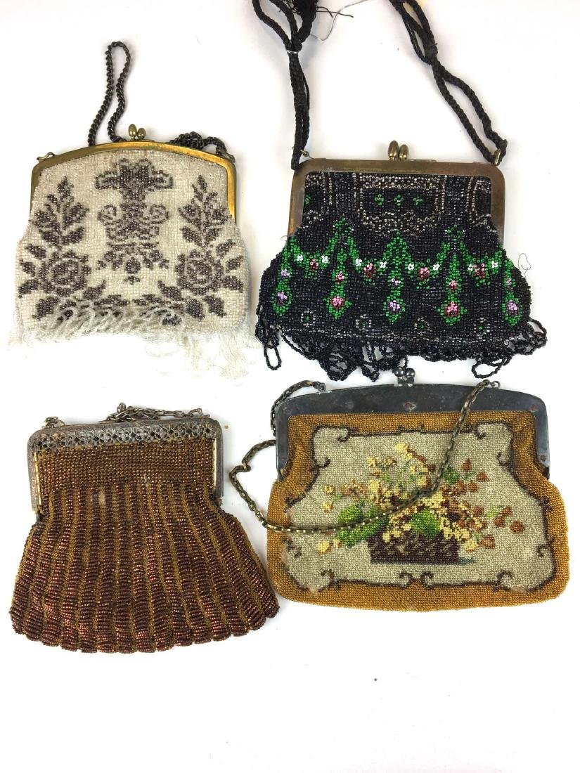 Group of 4 antique bead decorated hand bags. - 2