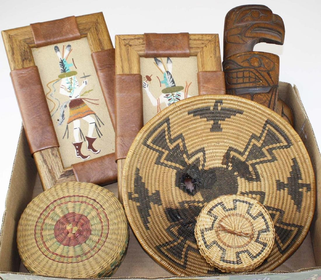 Native American baskets, sand paintings