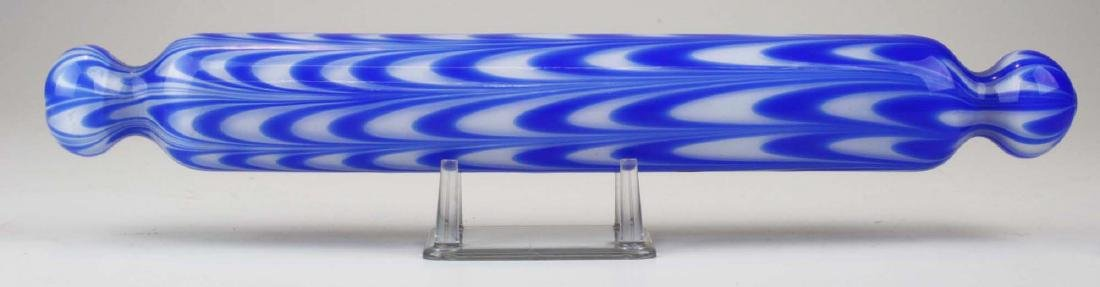 Nailsea type colbalt stripe art glass rolling pin