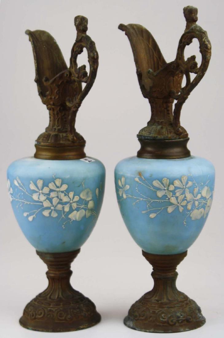 Victorian satin glass mounted garniture ewers