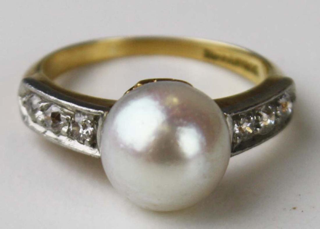 Tiffany pearl and diamond ring
